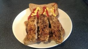 Tempeh breakfast sandwich