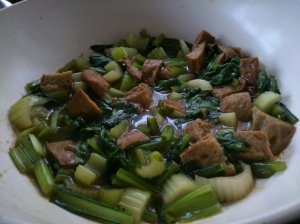 Chinese mock chicken with choi sum and celery