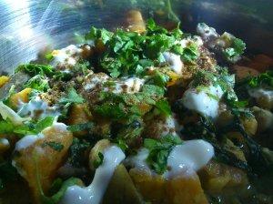 Spiced sweet potato, mushrooms and chickpeas