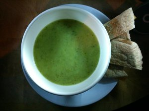 Courgette, leek and onion soup