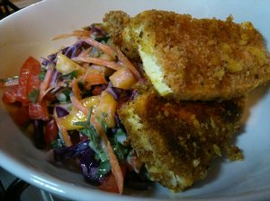 Notspam fritters with rainbow mango coleslaw