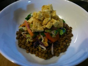 Tofu Thingies with coconut lime lentils and vegetables