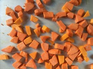 Veggies ready the oven