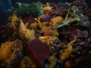 Cheaty butternut, broccoli, beetroot, lentil and almond salad