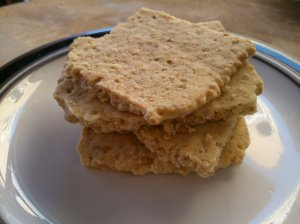 a pile of peanut and coconut oatcakes waiting to be demolished...