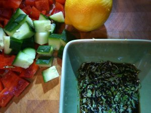 Mid salad prep, such lovely bright colours!