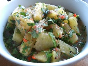 Pineapple pickle with coriander and grapefruit