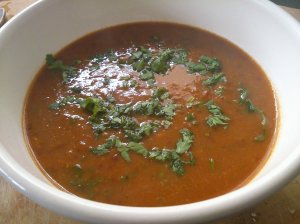 Pepper and bean soup with chilli and coriander
