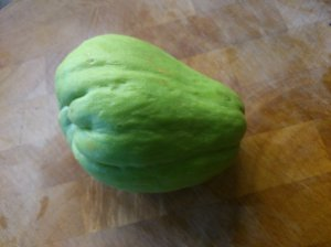 A whole chayote, such a lovely shade of green!