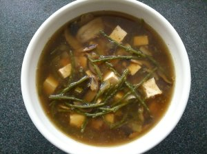 Samphire and tofu hot and sour soup
