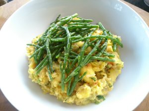ackee and pickled samphire with herby lentils and rice