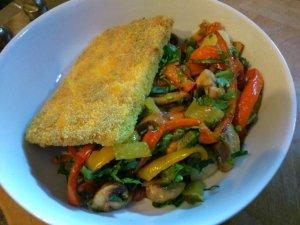 Schnitzel style tofu with mushroom pepper and potato salad