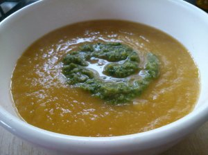 Celeriac, carrot and leek soup with chilli herb swirl