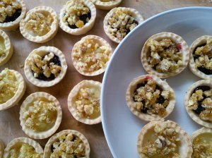 Cherry jam tarts with walnut fennel praline (and apple tarts too!)