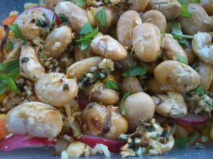 Roast butterbeans with miso and ginger