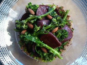 Pickled and roast beetroot with broccoli, almonds and quinoa