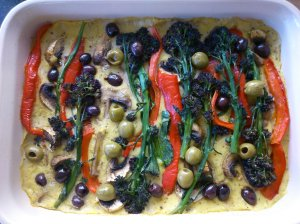 purple sprouting broccoli and polenta bake