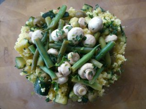 Millet salad with tarragon and allspice pickled mushrooms