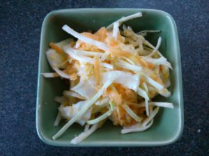 Coleslaw with sweetcorn dressing