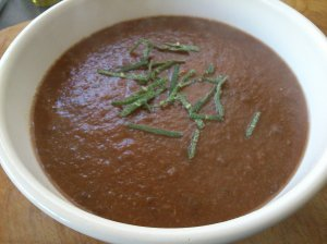 Beetroot, sage and lentil soup
