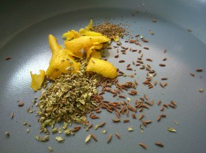 The pickle herbs and spices, shiny bright lemon zest!