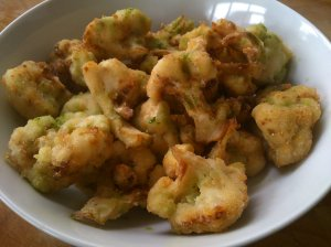 Pickled cauliflower fritters with herb sauce