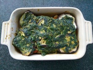 Aubergine bake with spinach and basil sauce