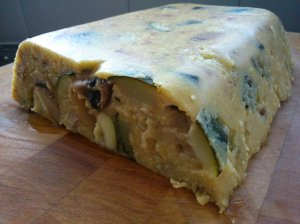 Courgette, mushroom and walnut polenta loaf