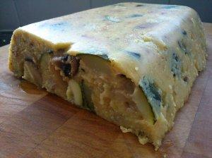 Courgette, mushroom and walnut polenta loaf