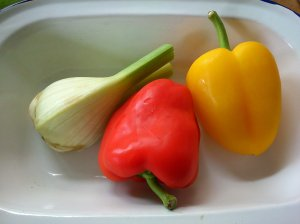 Fennel and peppers, pre roasting