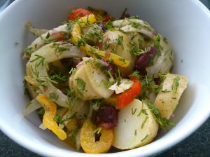 Potato salad with roast fennel and peppers