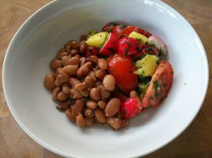 Seaweed beans with mango, radish and tomato salad
