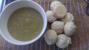 Cauliflower, courgette and mushy pea soup, with some of our gluten free bread rolls