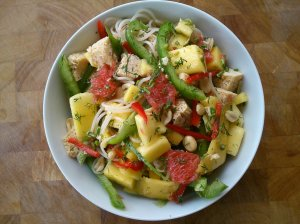 Mango, chilli and dill noodle salad
