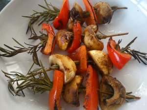 Mushroom and pepper rosemary kebabs