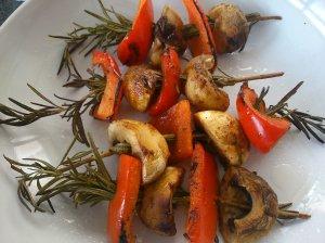 Mushroom and pepper rosemary kebabs