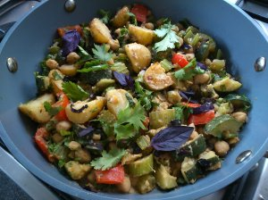 Spiced chickpeas and vegetables with basil and coriander