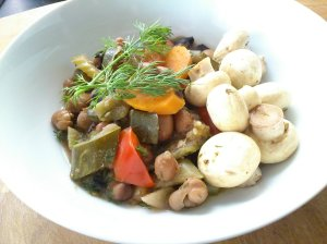 Fava beans with courgette and dill, and pickled mushrooms
