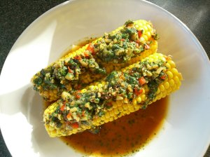 Corn on the cob with ginger, pepper and chilli glaze