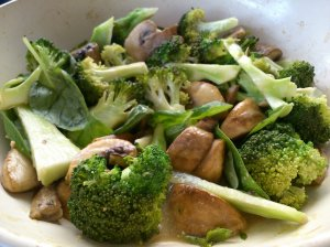 Mushrooms and broccoli in fermented tofu sauce