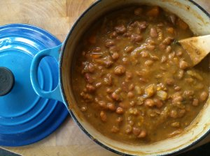 A big pot of rich savoury beans