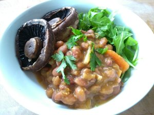 Nutmeg roasted mushrooms with rich savoury beans and rocket