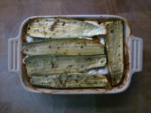 Creamy courgette and bean layer bake