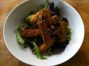 Basil roasted tofu and mushrooms