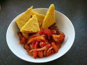 Baked butterbean polenta with spicy vegetables