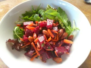 Beetroot, carrot and almond salad