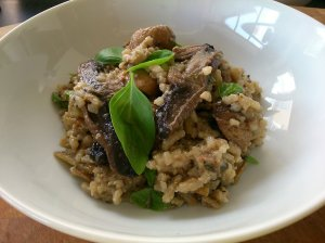 Baked mushroom and spinach risotto