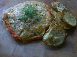 Spiced fennel, red pepper and cashew fritter