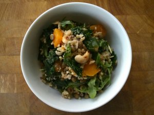 Kale salad with lentils and butternut squash