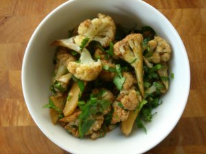 Cauliflower roasted with vegan oyster sauce and Chinese flavours